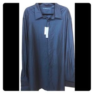 Perry Ellis_Mens Blue Long Sleeve Dress Shirt
